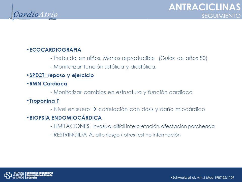 ANTRACICLINAS SEGUIMIENTO ECOCARDIOGRAFIA