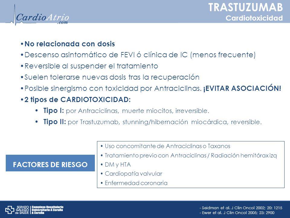 TRASTUZUMAB Cardiotoxicidad No relacionada con dosis