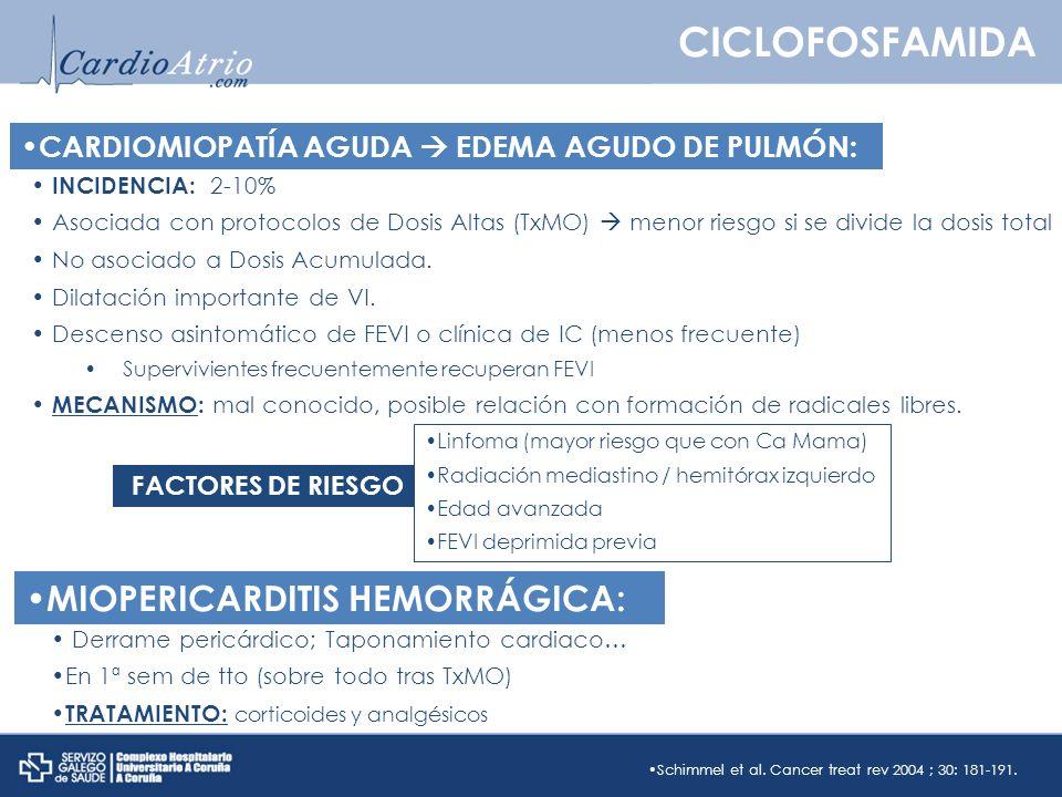 CICLOFOSFAMIDA MIOPERICARDITIS HEMORRÁGICA: