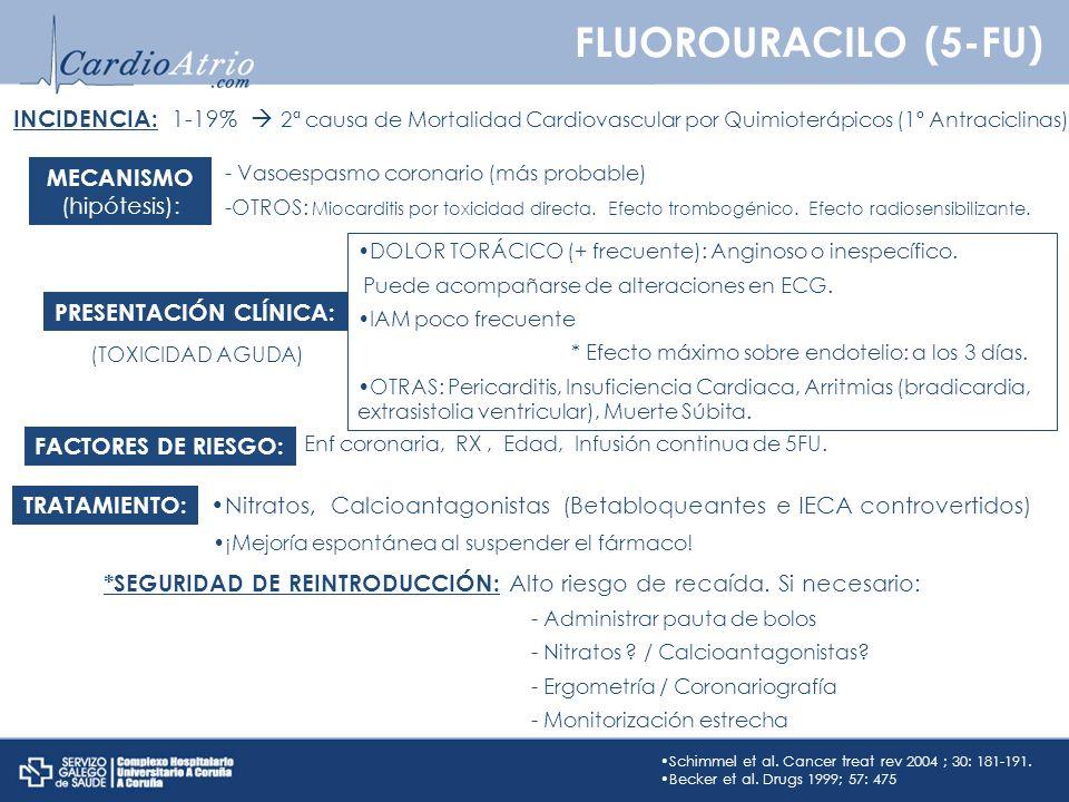 FLUOROURACILO (5-FU) INCIDENCIA: 1-19%  2ª causa de Mortalidad Cardiovascular por Quimioterápicos (1º Antraciclinas))