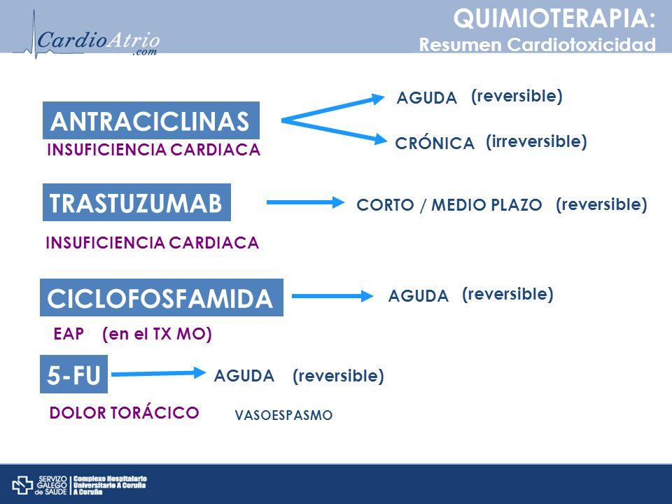 QUIMIOTERAPIA: ANTRACICLINAS TRASTUZUMAB CICLOFOSFAMIDA 5-FU