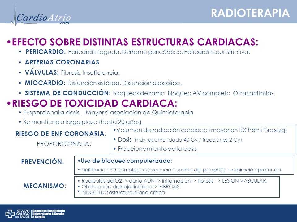 RADIOTERAPIA EFECTO SOBRE DISTINTAS ESTRUCTURAS CARDIACAS: