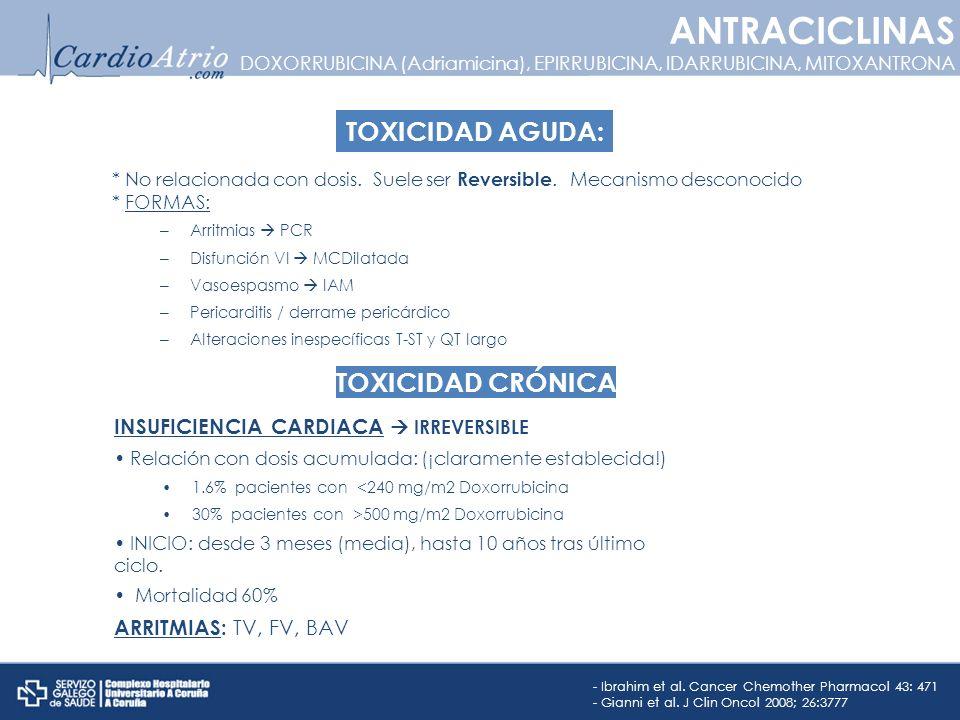 ANTRACICLINAS TOXICIDAD AGUDA: TOXICIDAD CRÓNICA