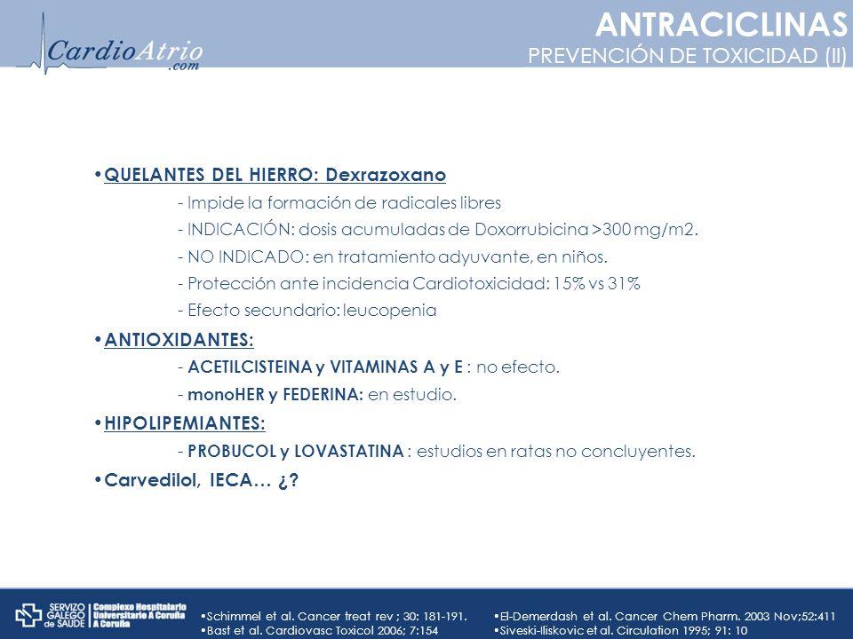ANTRACICLINAS PREVENCIÓN DE TOXICIDAD (II)
