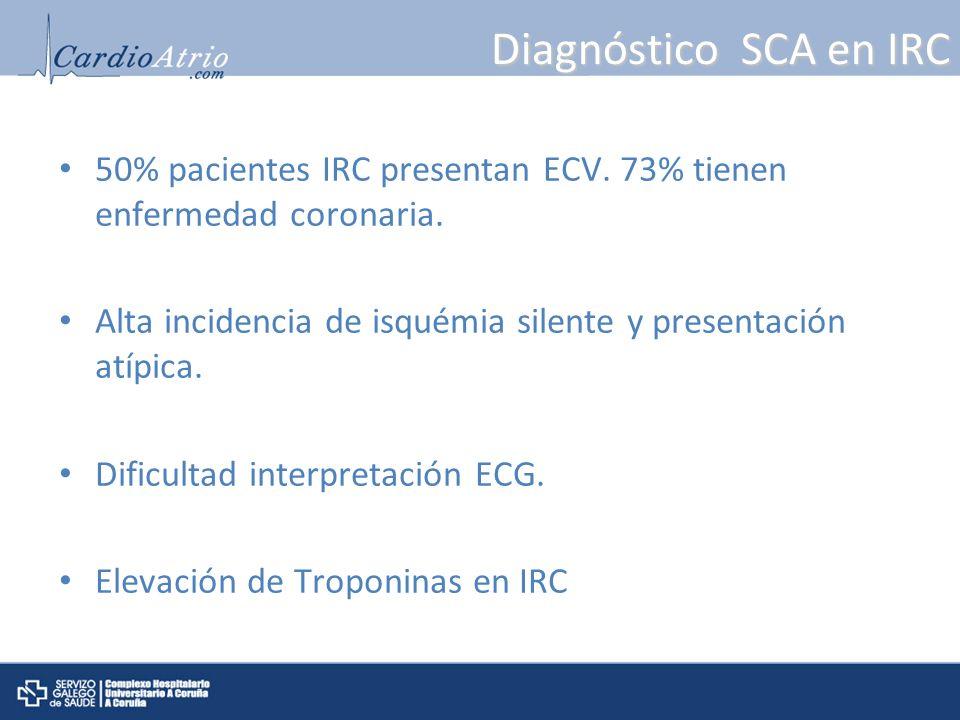 Diagnóstico SCA en IRC 50% pacientes IRC presentan ECV. 73% tienen enfermedad coronaria.