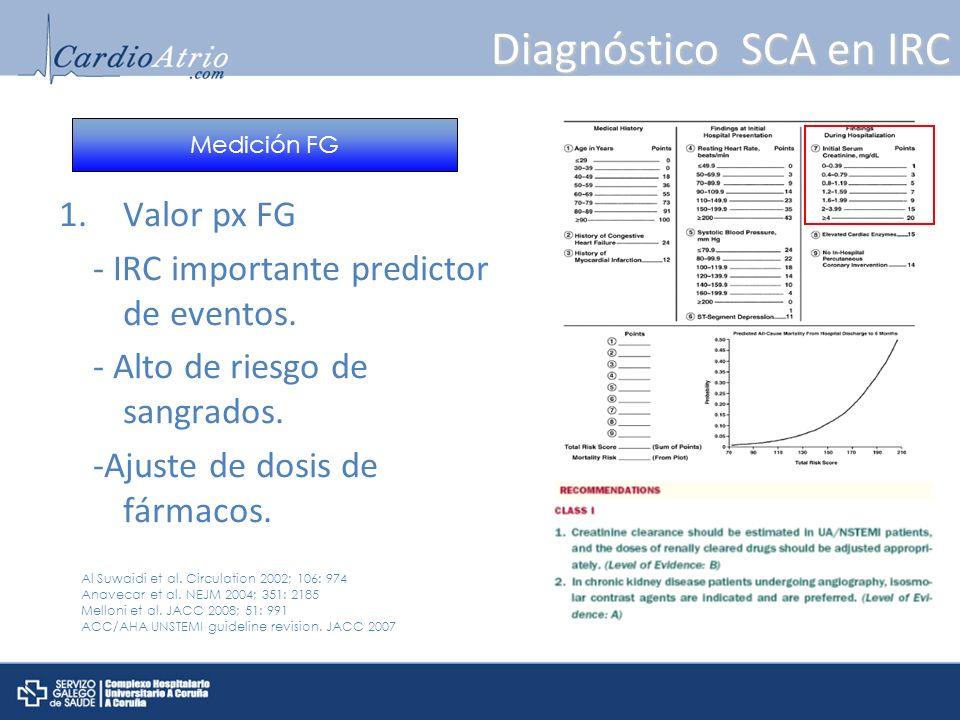 Diagnóstico SCA en IRC Valor px FG