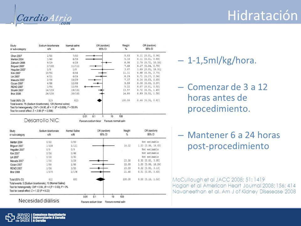 Hidratación 1-1,5ml/kg/hora.