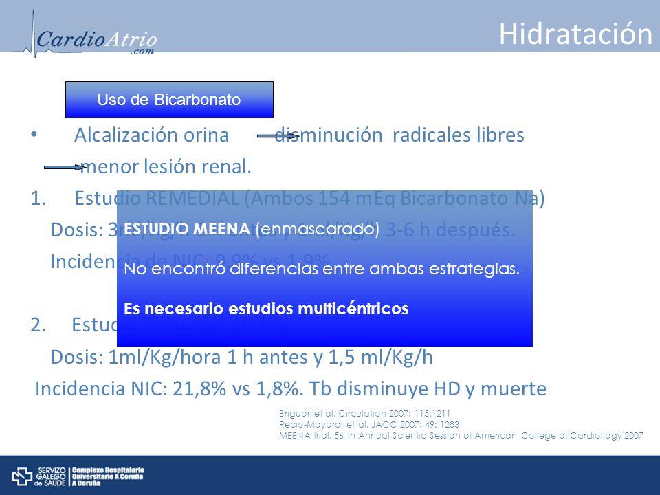 Hidratación Alcalización orina disminución radicales libres