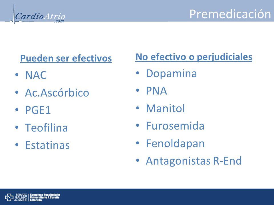 Premedicación Pueden ser efectivos Dopamina NAC Ac.Ascórbico PNA PGE1