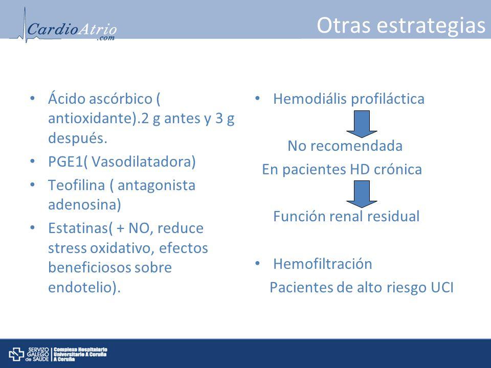 Otras estrategias Ácido ascórbico ( antioxidante).2 g antes y 3 g después. PGE1( Vasodilatadora) Teofilina ( antagonista adenosina)