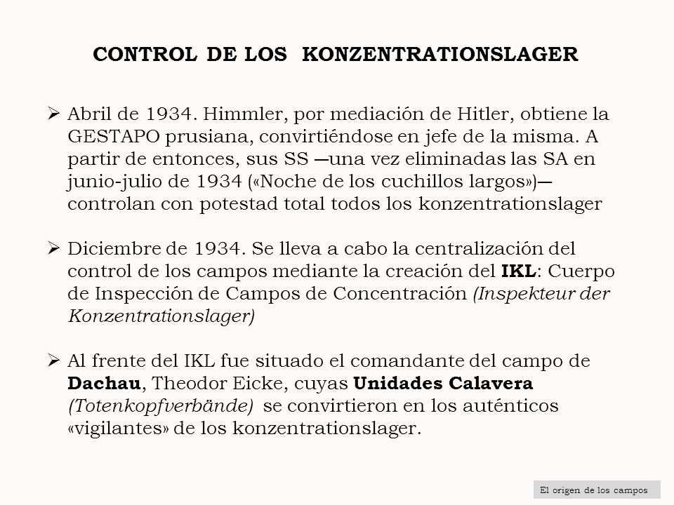 CONTROL DE LOS KONZENTRATIONSLAGER