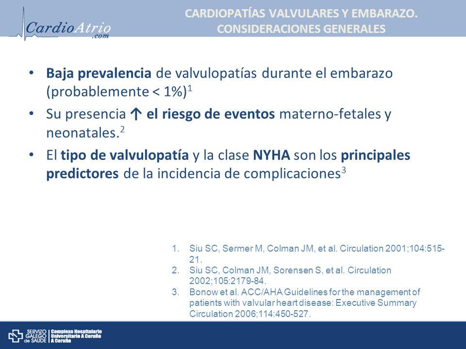 CARDIOPATÍAS VALVULARES Y EMBARAZO. CONSIDERACIONES GENERALES