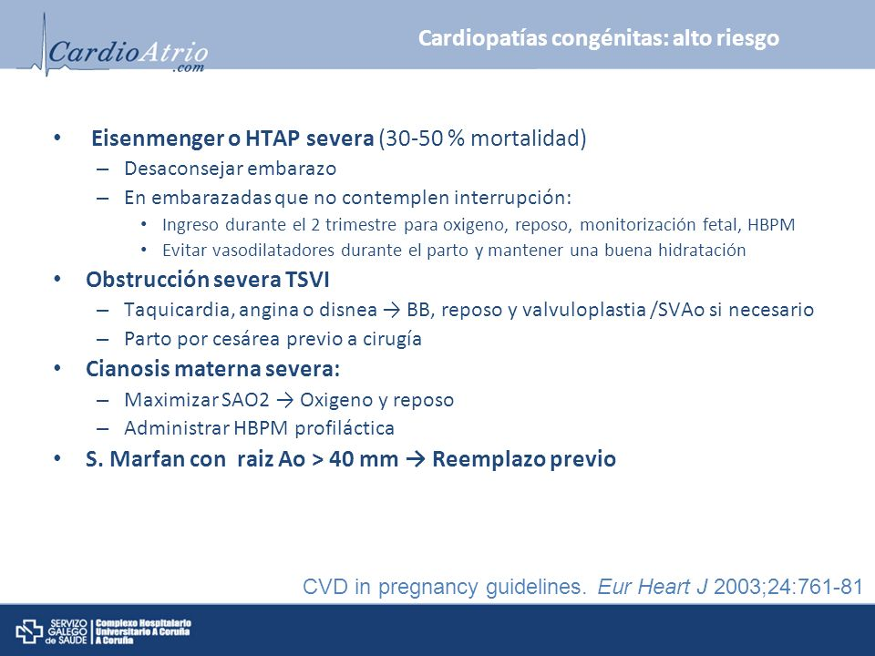 Cardiopatías congénitas: alto riesgo