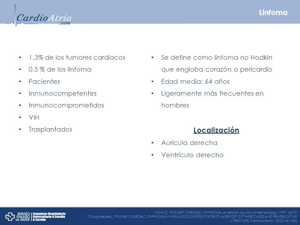 Linfoma Localización 1.3% de los tumores cardiacos