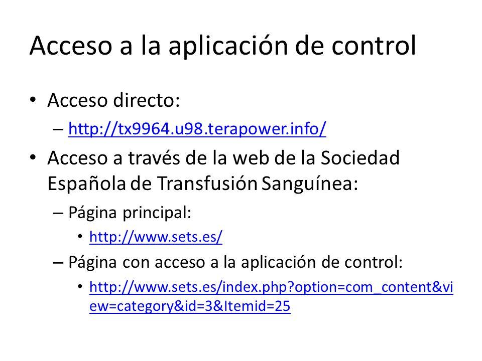 Acceso a la aplicación de control