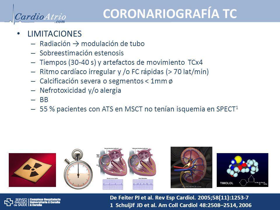 CORONARIOGRAFÍA TC LIMITACIONES Radiación → modulación de tubo