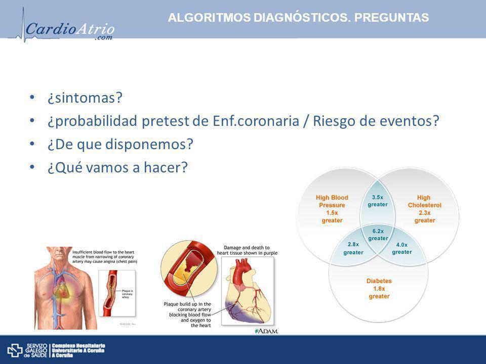 ¿probabilidad pretest de Enf.coronaria / Riesgo de eventos