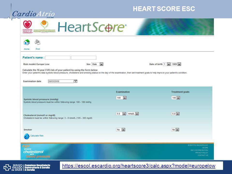 HEART SCORE ESC https://escol.escardio.org/heartscore3/calc.aspx model=europelow