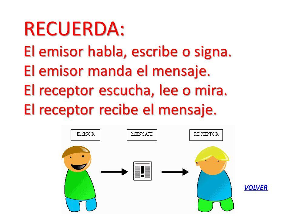 RECUERDA: El emisor habla, escribe o signa.