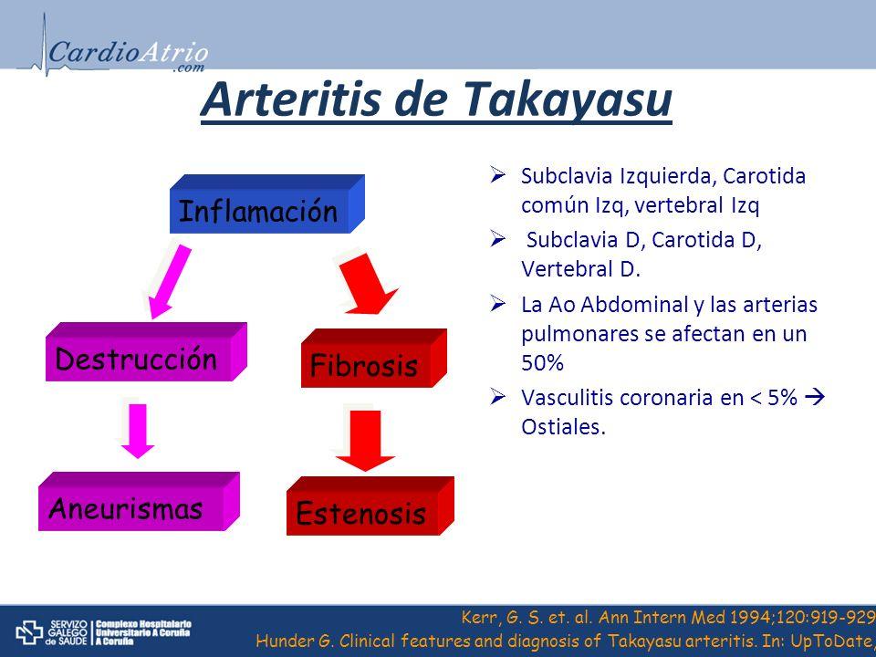 Arteritis de Takayasu Inflamación Destrucción Fibrosis Aneurismas