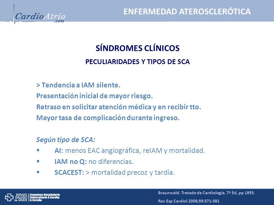 ENFERMEDAD ATEROSCLERÓTICA PECULIARIDADES Y TIPOS DE SCA