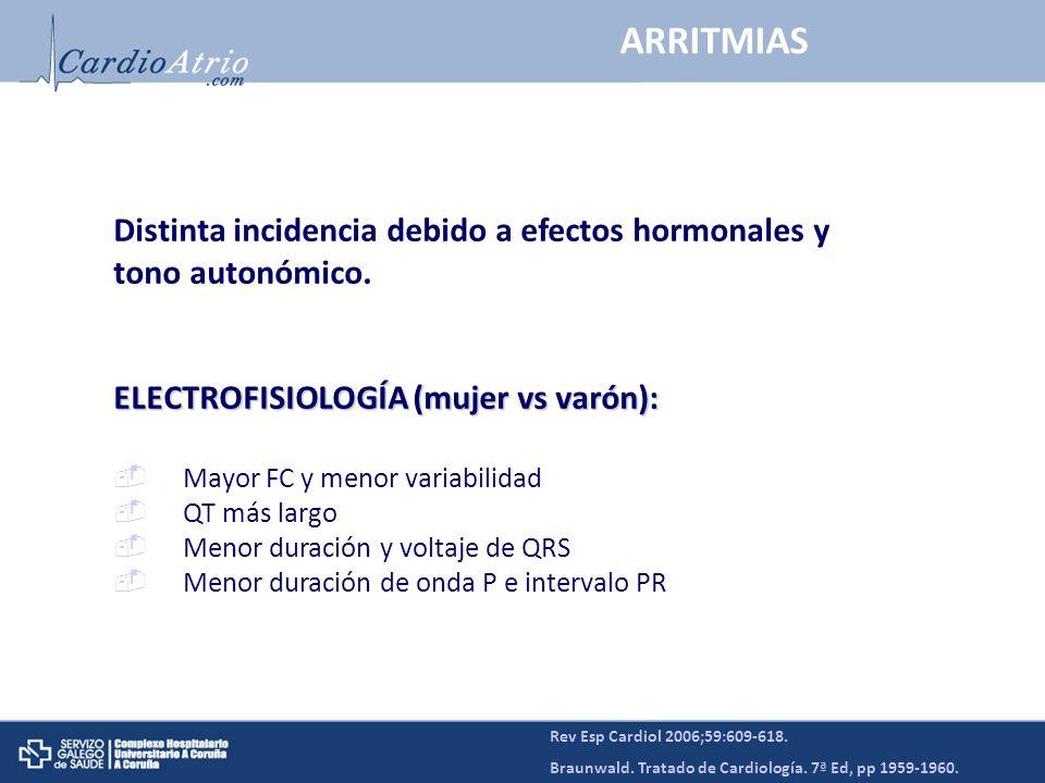ARRITMIAS Distinta incidencia debido a efectos hormonales y