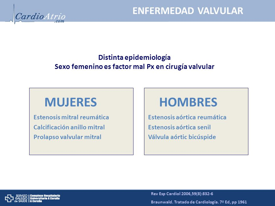MUJERES HOMBRES ENFERMEDAD VALVULAR