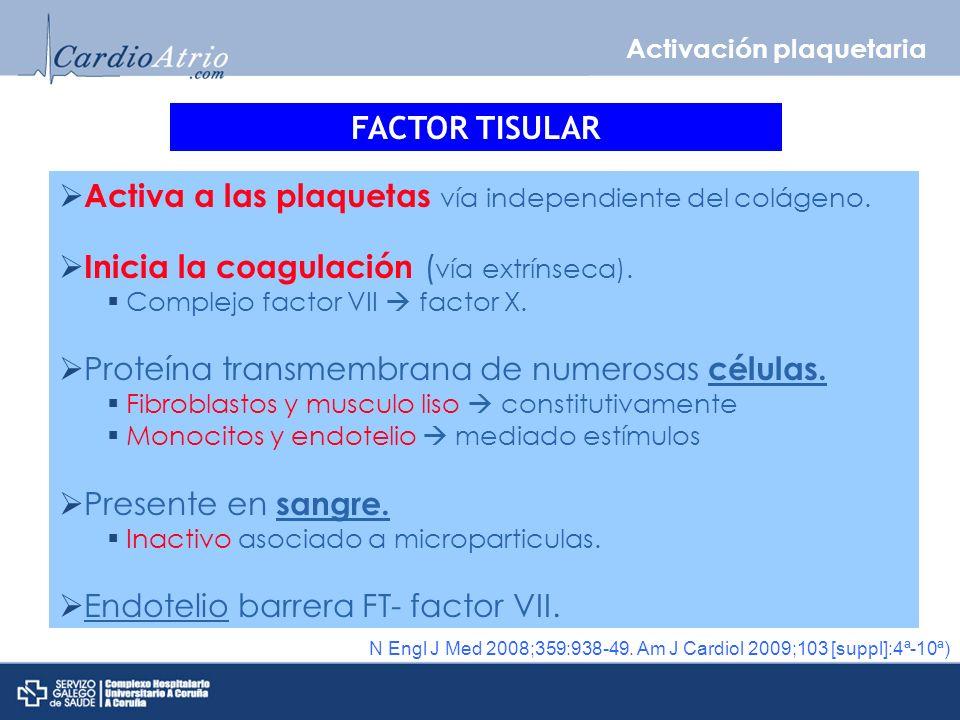 Activa a las plaquetas vía independiente del colágeno.