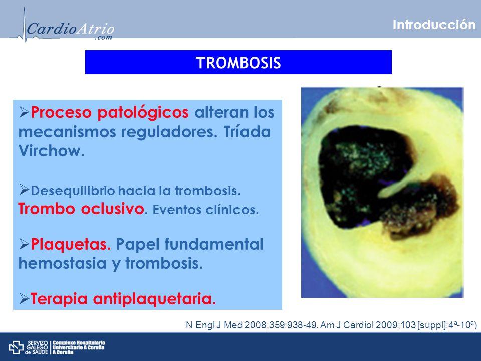 Desequilibrio hacia la trombosis. Trombo oclusivo. Eventos clínicos.