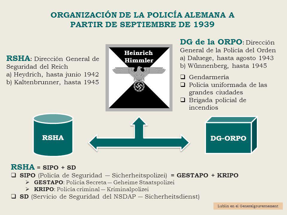 ORGANIZACIÓN DE LA POLICÍA ALEMANA A PARTIR DE SEPTIEMBRE DE 1939