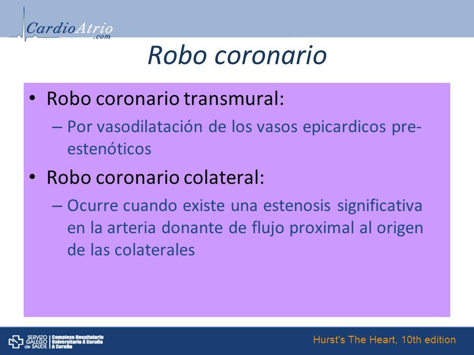 Robo coronario Robo coronario transmural: Robo coronario colateral: