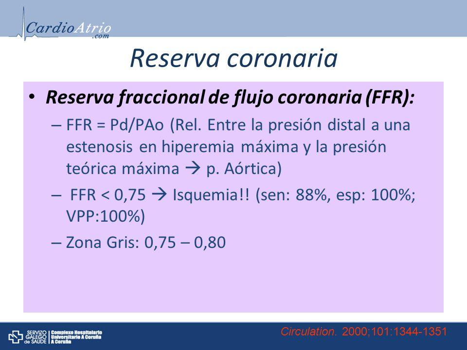 Reserva coronaria Reserva fraccional de flujo coronaria (FFR):