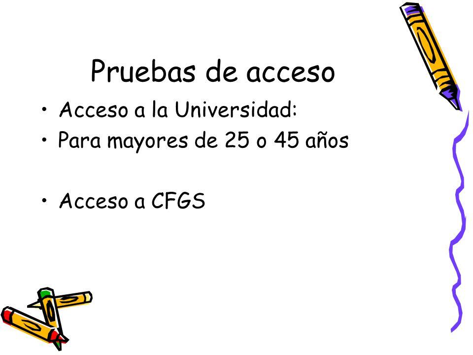 Pruebas de acceso Acceso a la Universidad: