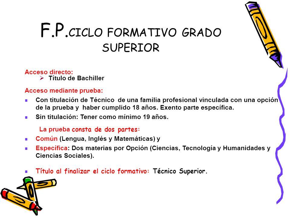 F.P.CICLO FORMATIVO GRADO SUPERIOR