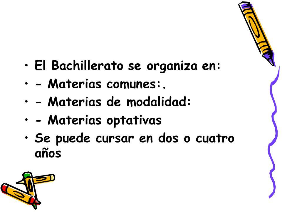 El Bachillerato se organiza en: