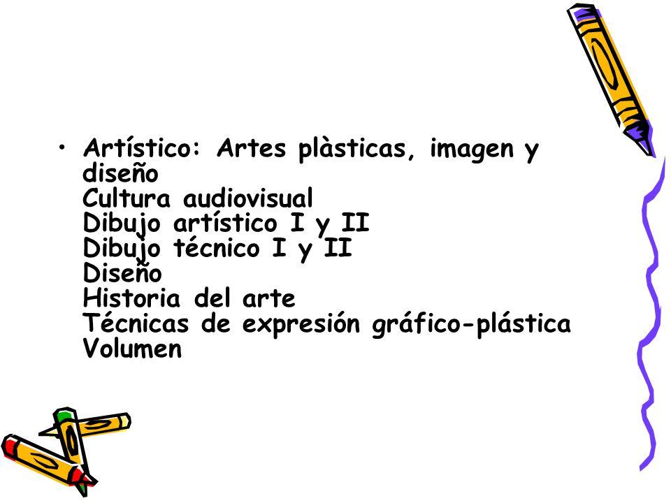 Artístico: Artes plàsticas, imagen y diseño Cultura audiovisual Dibujo artístico I y II Dibujo técnico I y II Diseño Historia del arte Técnicas de expresión gráfico-plástica Volumen