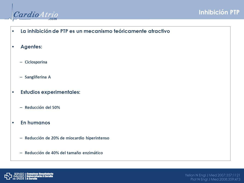 Inhibición PTP La inhibición de PTP es un mecanismo teóricamente atractivo. Agentes: Ciclosporina.