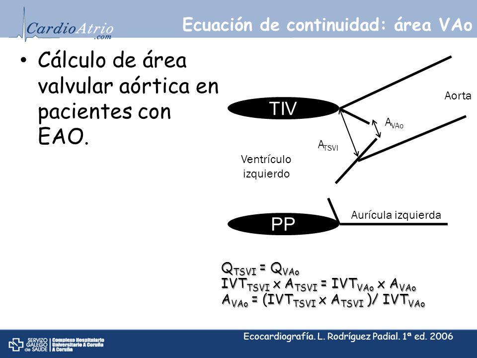 Ecuación de continuidad: área VAo