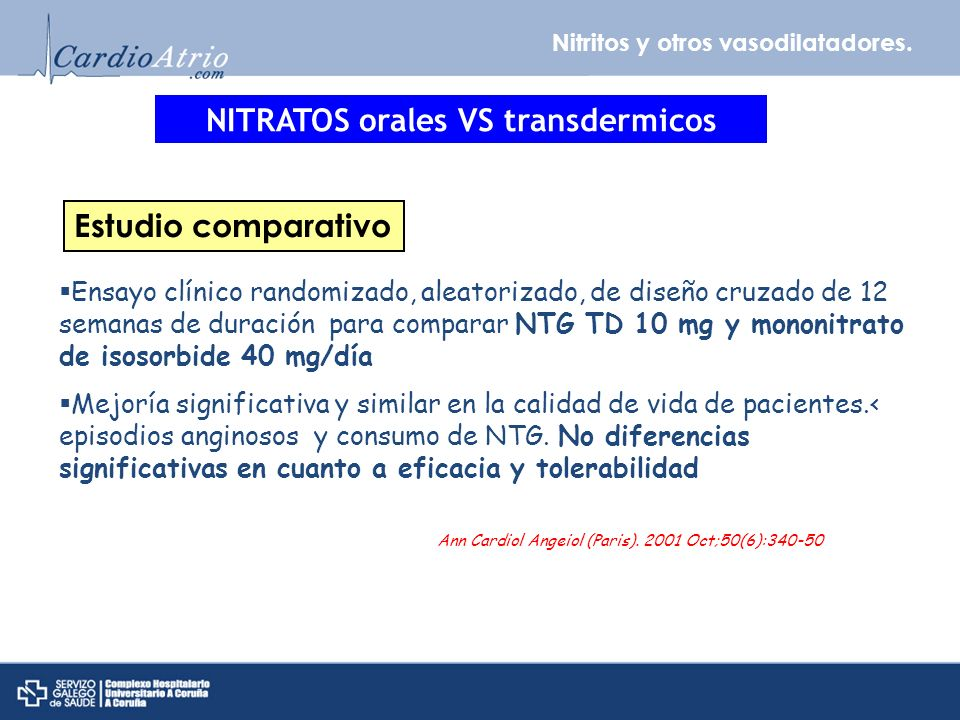 NITRATOS orales VS transdermicos