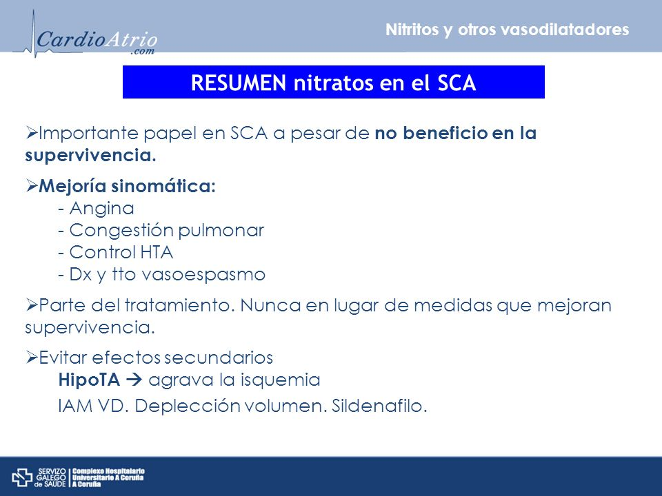 RESUMEN nitratos en el SCA
