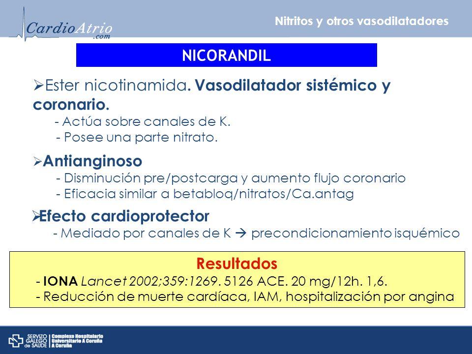 Ester nicotinamida. Vasodilatador sistémico y coronario.