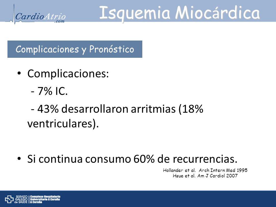Isquemia Miocárdica Complicaciones: - 7% IC.