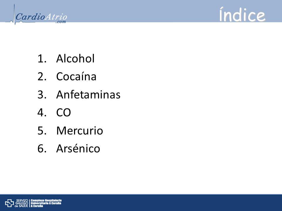 Índice Alcohol Cocaína Anfetaminas CO Mercurio Arsénico
