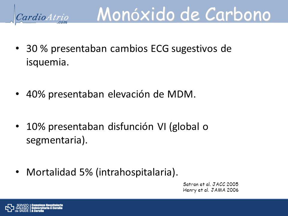Monóxido de Carbono 30 % presentaban cambios ECG sugestivos de isquemia. 40% presentaban elevación de MDM.