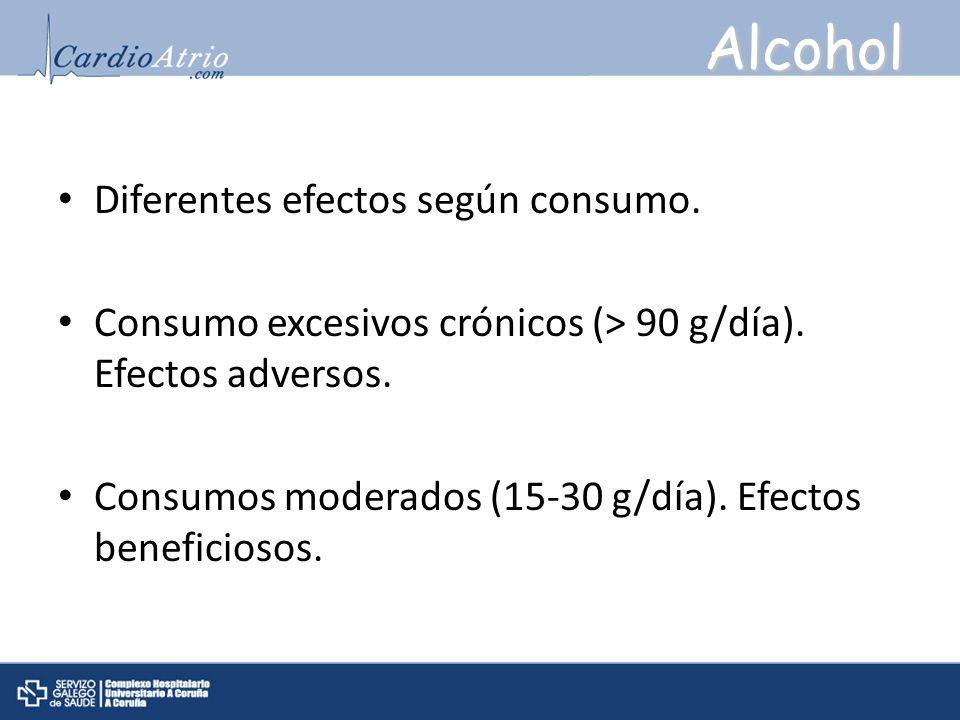 Alcohol Diferentes efectos según consumo.