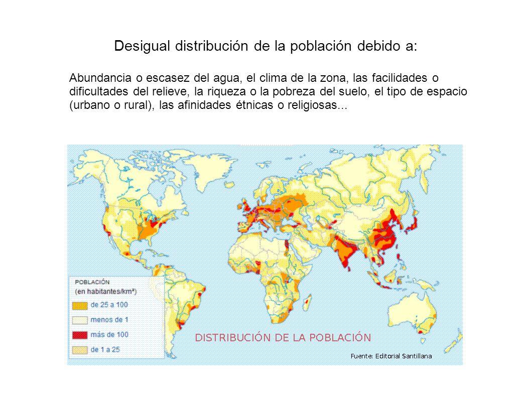 Desigual distribución de la población debido a: