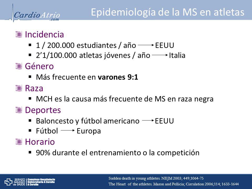 Epidemiología de la MS en atletas