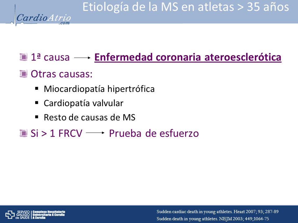 Etiología de la MS en atletas > 35 años