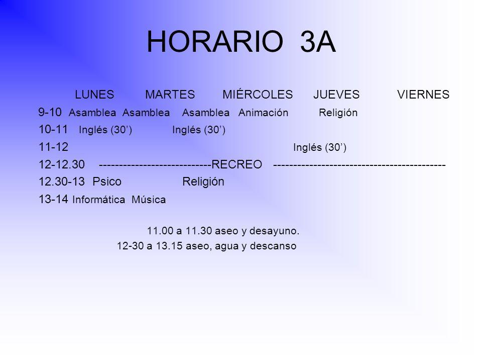 HORARIO 3A LUNES MARTES MIÉRCOLES JUEVES VIERNES