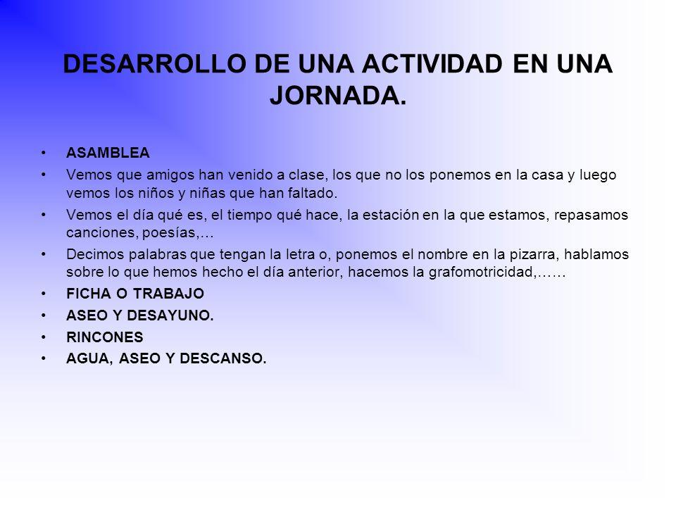 DESARROLLO DE UNA ACTIVIDAD EN UNA JORNADA.